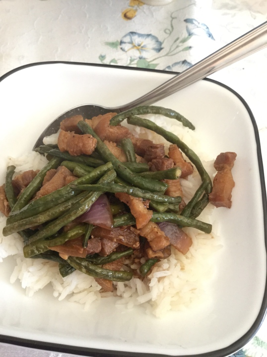Stir Fry pork belly and string beans (I think it's called snake beans in one of my chinese cookbook)