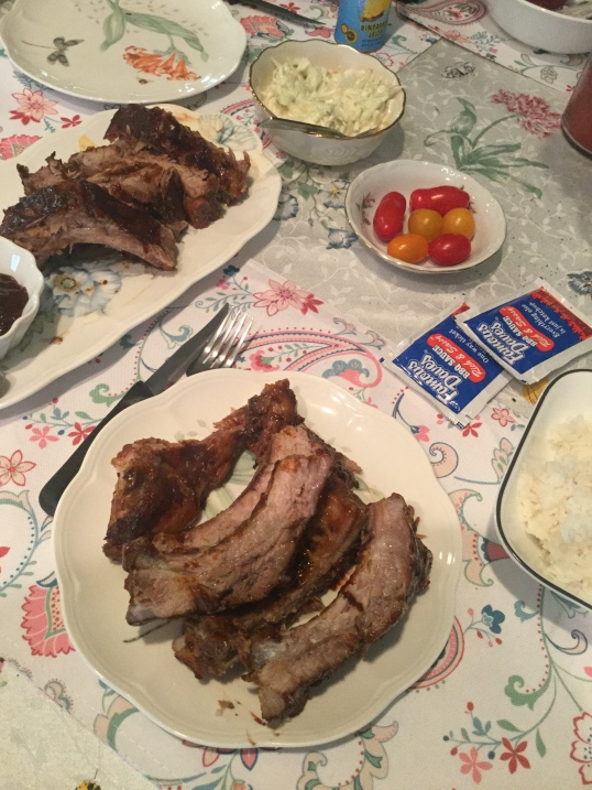 Oven Baked ribs and coleslaw