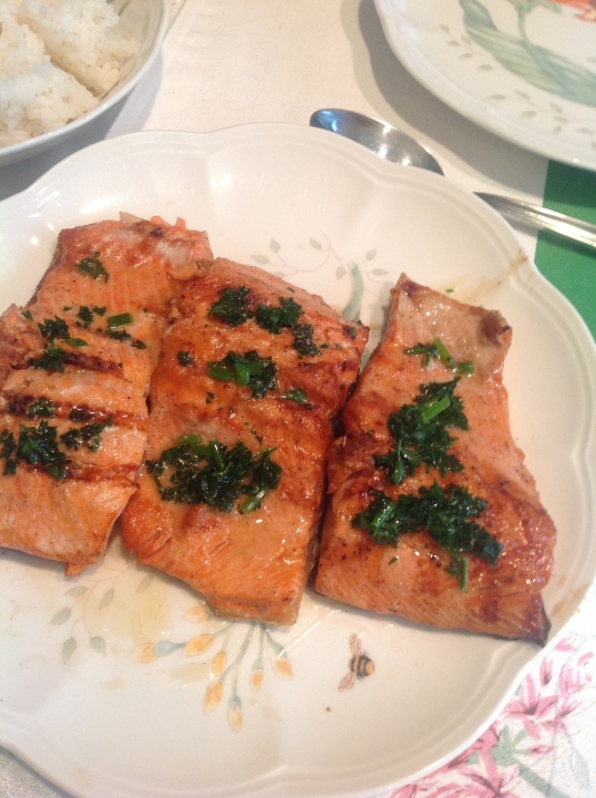 grilled salmon with herb butter