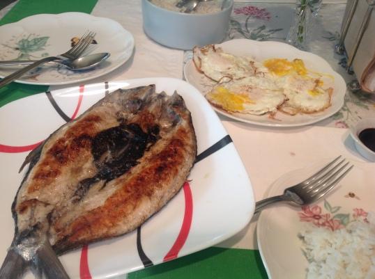 Filipino breakfast for dinner! Milkfish and eggs.